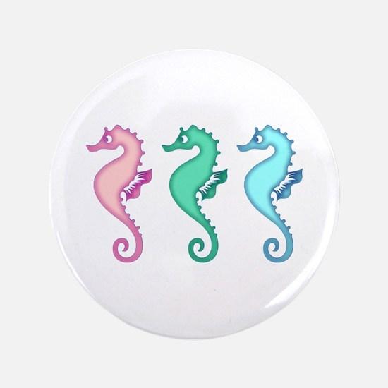 Tropical Ocean Seahorse Trio Button