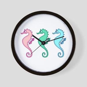 Tropical Ocean Seahorse Trio Wall Clock