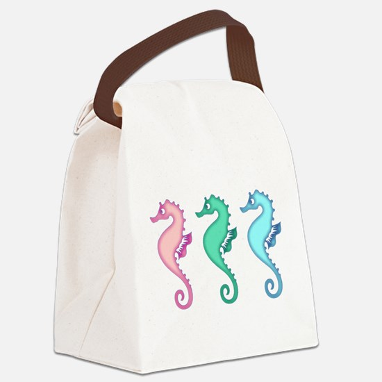 Tropical Ocean Seahorse Trio Canvas Lunch Bag