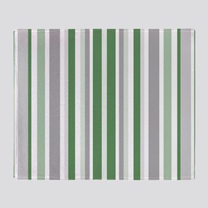 Green, Grey & White: Stripes Pattern Throw Blanket