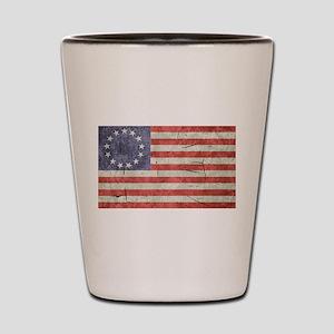 Betsy Ross Worn 13 Star Flag Shot Glass