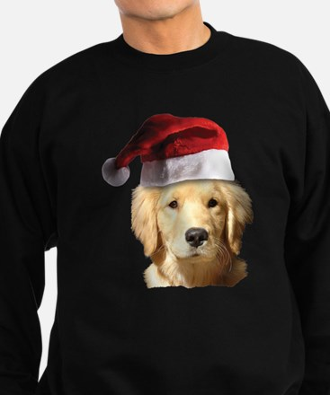 cute golden reriever with a santa Sweatshirt