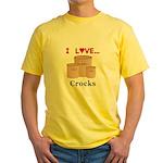 I Love Crocks Yellow T-Shirt