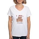 I Love Crocks Women's V-Neck T-Shirt