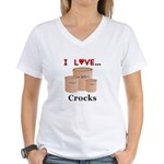 I Love Crocks Women's V-Neck T-Shirt