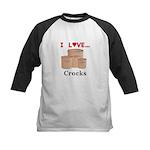 I Love Crocks Kids Baseball Jersey