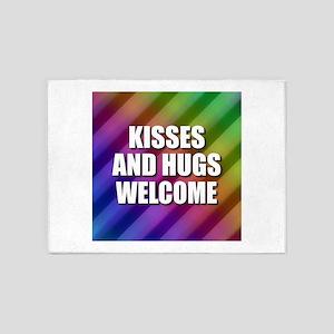 Kisses and Hugs Welcome Rainbow 5'x7'Area Rug