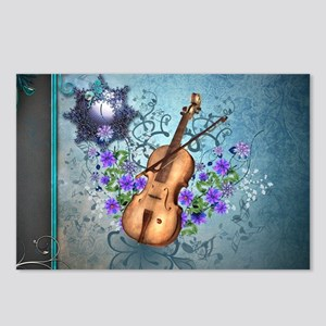Wonderful violin with violin bow and flowers Postc