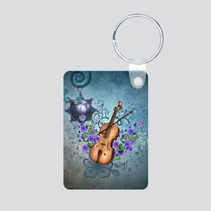 Wonderful violin with violin bow and flowers Keych