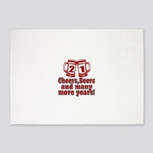 21 Cheers Beers And Many More Years 5'x7'Area Rug