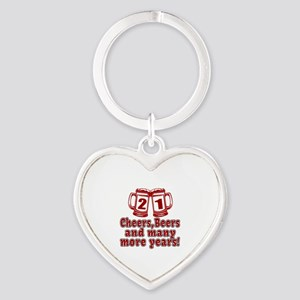 21 Cheers Beers And Many More Years Heart Keychain