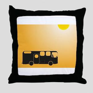 Camper Van In Sun Throw Pillow