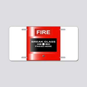Fire Emergency Red Button Aluminum License Plate