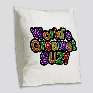 World's Greatest Suzy Burlap Throw Pillow