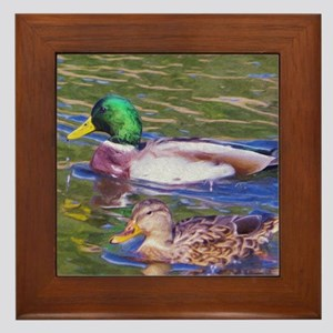 Mallard Ducks Framed Tile