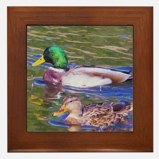 Mallard Ducks Framed Tile