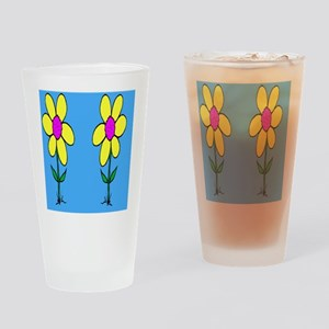 Two Sun Flowers Drinking Glass