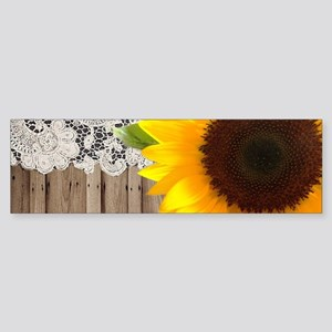 rustic barn yellow sunflower Bumper Sticker