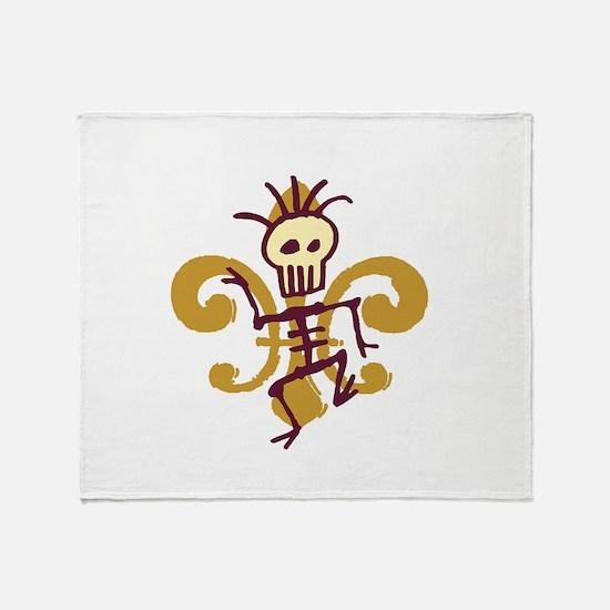Bone Man Fleur De Lis Throw Blanket