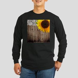 rustic barn yellow sunflower Long Sleeve T-Shirt
