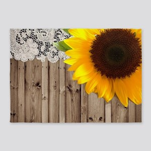 rustic barn yellow sunflower 5'x7'Area Rug