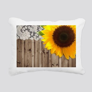 rustic barn yellow sunfl Rectangular Canvas Pillow