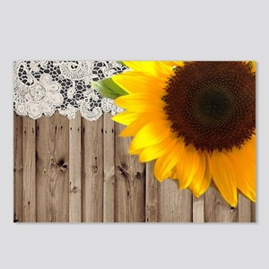 rustic barn yellow sunflo Postcards (Package of 8)