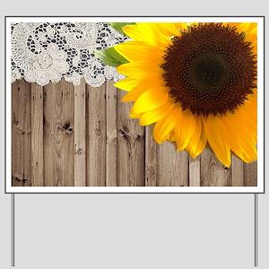 rustic barn yellow sunflower Yard Sign