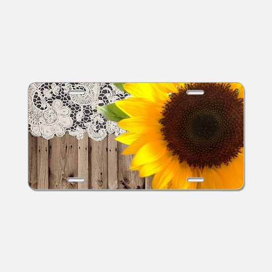 rustic barn yellow sunflowe Aluminum License Plate