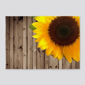 rustic barn yellow sunflower 5'x7'Area Rug