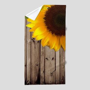 rustic barn yellow sunflower Beach Towel