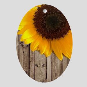 rustic barn yellow sunflower Oval Ornament