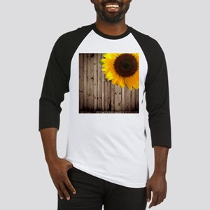 rustic barn yellow sunflower Baseball Jersey