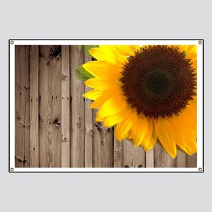 rustic barn yellow sunflower Banner