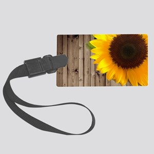rustic barn yellow sunflower Large Luggage Tag