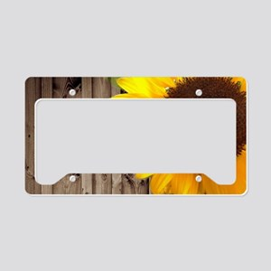 rustic barn yellow sunflower License Plate Holder