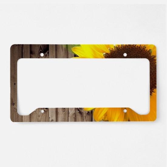 rustic barn yellow sunflower License Plate Holder
