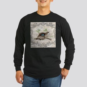 modern vintage french bird nes Long Sleeve T-Shirt
