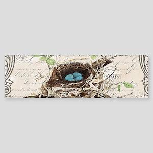 modern vintage french bird nest Bumper Sticker