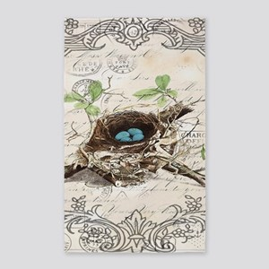 modern vintage french bird nest Area Rug