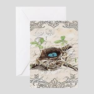 modern vintage french bird nest Greeting Cards