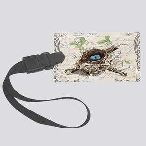 modern vintage french bird nest Large Luggage Tag