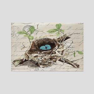 modern vintage french bird nest Magnets