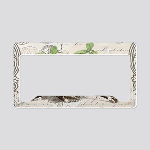 modern vintage french bird ne License Plate Holder