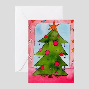 X Mas Tree Red Greeting Cards