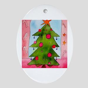 X Mas Tree Red Oval Ornament