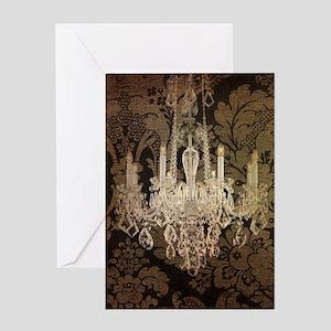 steampunk damask vintage chandelier Greeting Cards