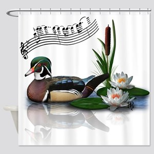 Wood Duck Pond Notes Shower Curtain