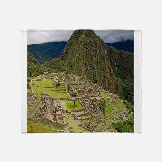 Inca Village Machu Picchu Throw Blanket