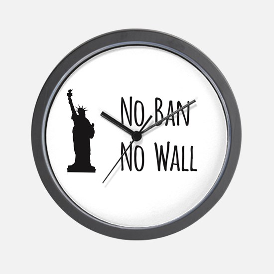 No Ban No Wall Wall Clock